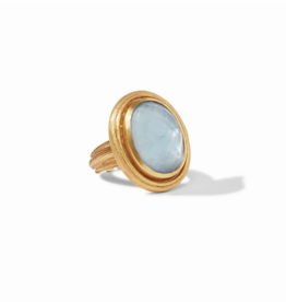 Julie Vos Copy of Barcelona Statement Ring Iridescent Chalcedony Blue Size 7