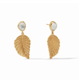 Julie Vos Aspen Leaf Earring Iridescent Clear Crystal