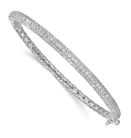 White Tone Fashion Pave Hinged Bangle