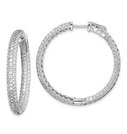 3 Row Pave Fashion Hoop Earrings