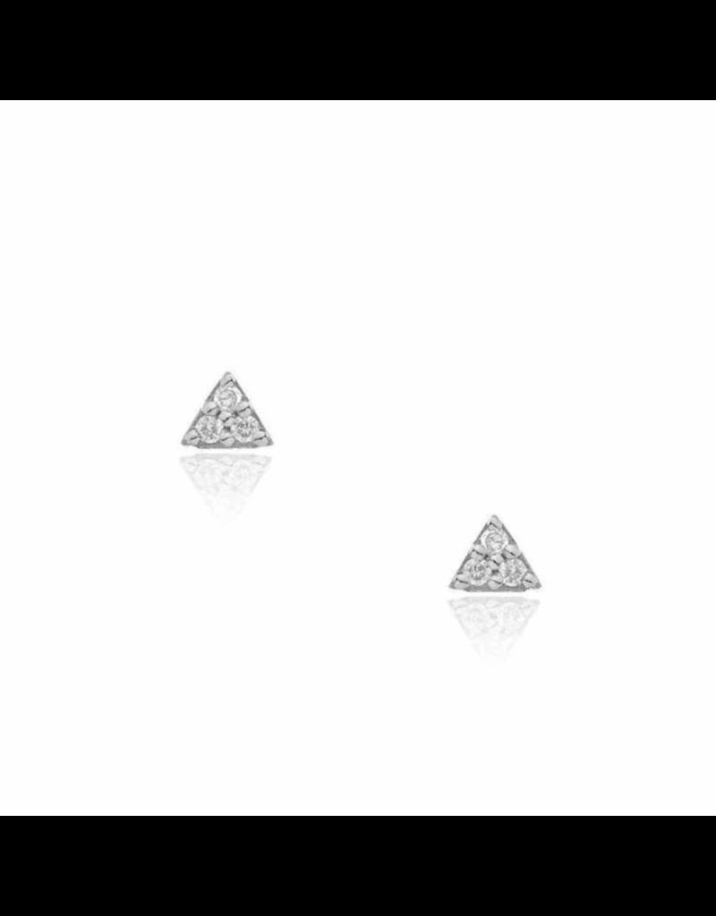 14K White Gold Petite Triangle Post Earrings