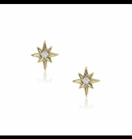 Liven Yellow Gold Small Starburst Single Stud