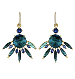 Malachite Azurite Tourmaline Fan Earring