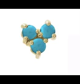 Eden Presley Turquoise Tri Stud Single Earring