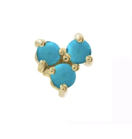 Turquoise Tri Stud Single Earring
