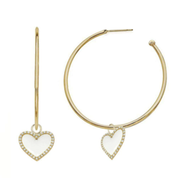 Jaimie Nicole White Enamel Heart Hoop Earrings