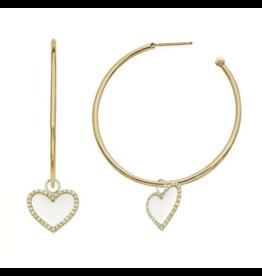 White Enamel Heart Hoop Earrings