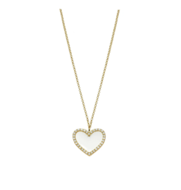 Jaimie Nicole White Enamel Heart Necklace