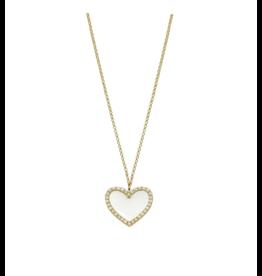 White Enamel Heart Necklace