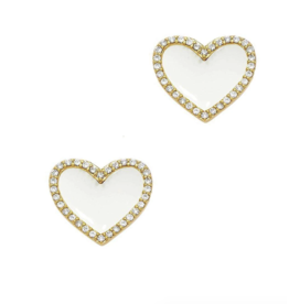 Jaimie Nicole White Enamel Heart Stud Earrings