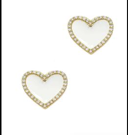 White Enamel Heart Stud Earrings