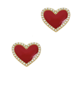 Jaimie Nicole Red Enamel Heart Stud Earrings