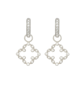 18KW Pave Open Clover Charms