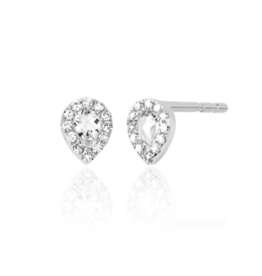 EF Collection 14KW DIAMOND WHITE TOPAZ MINI TEARDROP STUD EARRING