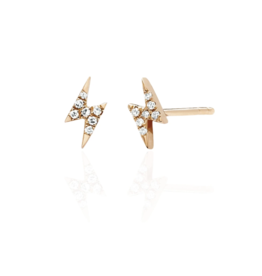 EF Collection 14KR DIAMOND MINI LIGHTNING BOLT STUD EARRING