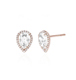 EF Collection 14KR DIAMOND WHITE TOPAZ TEARDROP STUD EARRING