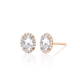 EF Collection 14KY DIAMOND & WHITE TOPAZ OVAL STUD EARRING