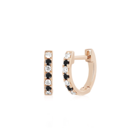 EF Collection 14KR MINI DIAMOND & BLACK DIAMOND DOT HUGGIE EARRING