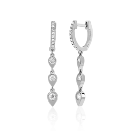 EF Collection 14KW DIAMOND HUGGIE WITH 3 GOLD & DIAMOND TEARDROP DROP EARRING