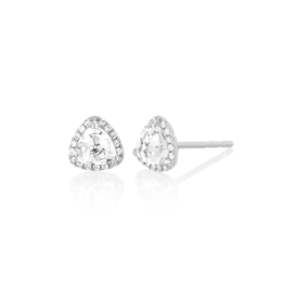 EF Collection 14KW DIAMOND & WHITE TOPAZ TRILLION STUD EARRING