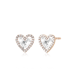 EF Collection 14KR DIAMOND WHITE TOPAZ HEART STUD EARRING