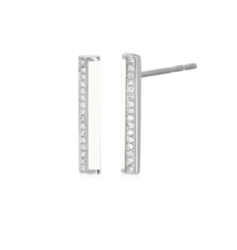 EF Collection 14KW DIAMOND & WHITE ENAMEL STRIPE BAR STUD EARRING