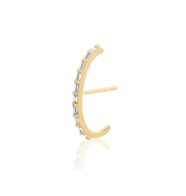EF Collection 14KY DIAMOND BAGUETTE ULTRA HUGGIE EARRING