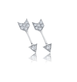 EF Collection 14KW DIAMOND MINI ARROW STUD EARRING