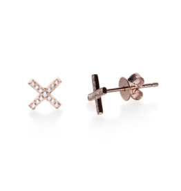 EF Collection 14KR DIAMOND X STUD EARRING