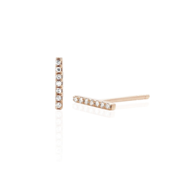 EF Collection 14KR DIAMOND MINI BAR STUD EARRING