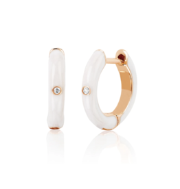 EF Collection 14KR SINGLE DIAMOND WHITE ENAMEL HUGGIE EARRING (CLASSIC)