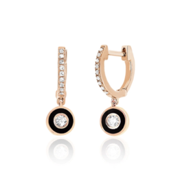 EF Collection 14KR DIAMOND HUGGIE WITH BLACK ENAMEL BEZEL DROP EARRING