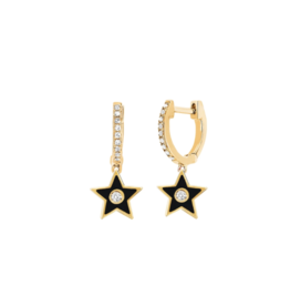EF Collection 14KY DIAMOND HUGGIE WITH BLACK ENAMEL STAR DROP EARRING