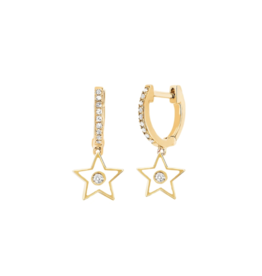 EF Collection 14KY DIAMOND HUGGIE WITH WHITE ENAMEL STAR DROP EARRING