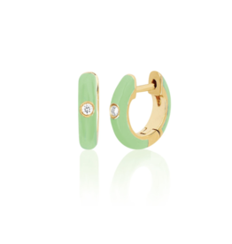 EF Collection 14KY SINGLE DIAMOND MINT ENAMEL HUGGIE EARRING