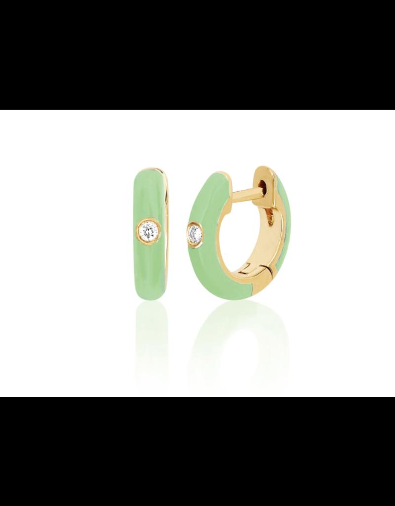 EF Collection 14KY SINGLE DIAMOND MINT ENAMEL HUGGIE EARRING