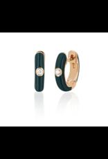 EF Collection 14KR SINGLE DIAMOND HUNTER GREEN ENAMEL HUGGIE EARRING (GENEROUS)
