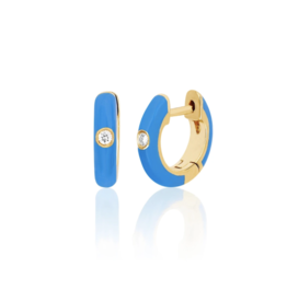 EF Collection 14KY SINGLE DIAMOND BLUE ENAMEL HUGGIE EARRING