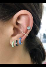 EF Collection 14KY SINGLE DIAMOND BLUE ENAMEL HUGGIE EARRING