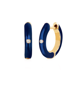 EF Collection 14KY SINGLE DIAMOND NAVY ENAMEL HUGGIE EARRING (WISE)