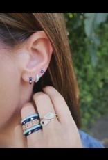 EF Collection 14KY SINGLE DIAMOND NAVY ENAMEL HUGGIE EARRING (WISE)