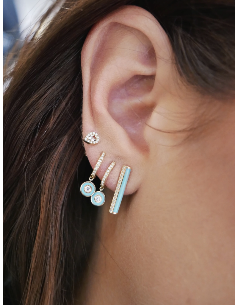 EF Collection 14KY DIAMOND HUGGIE WITH TURQUOISE ENAMEL BEZEL DROP EARRING