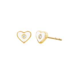 EF Collection 14KY DIAMOND & WHITE ENAMEL HEART STUD EARRING