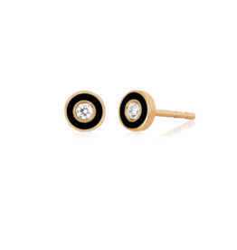 EF Collection 14KR DIAMOND & BLACK ENAMEL BEZEL STUD EARRING