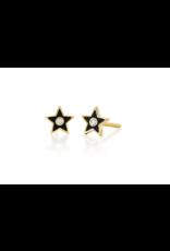 EF Collection 14KY DIAMOND & BLACK ENAMEL STAR STUD EARRING