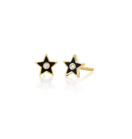 EF Collection 14KY DIAMOND & BLACK ENAMEL STAR STUD EARRING
