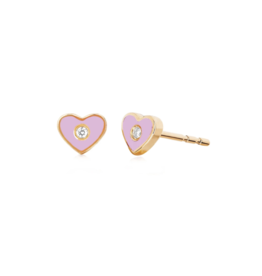 EF Collection 14KR DIAMOND & PINK ENAMEL HEART STUD EARRING