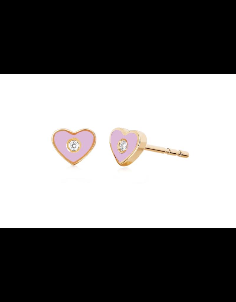 EF Collection 14KR DIAMOND & PINK ENAMEL HEART STUD EARRING