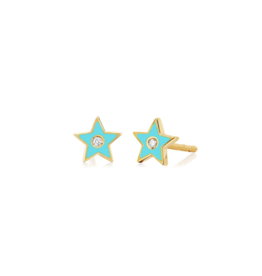 EF Collection 14KY DIAMOND & TURQUOISE ENAMEL STAR STUD EARRING