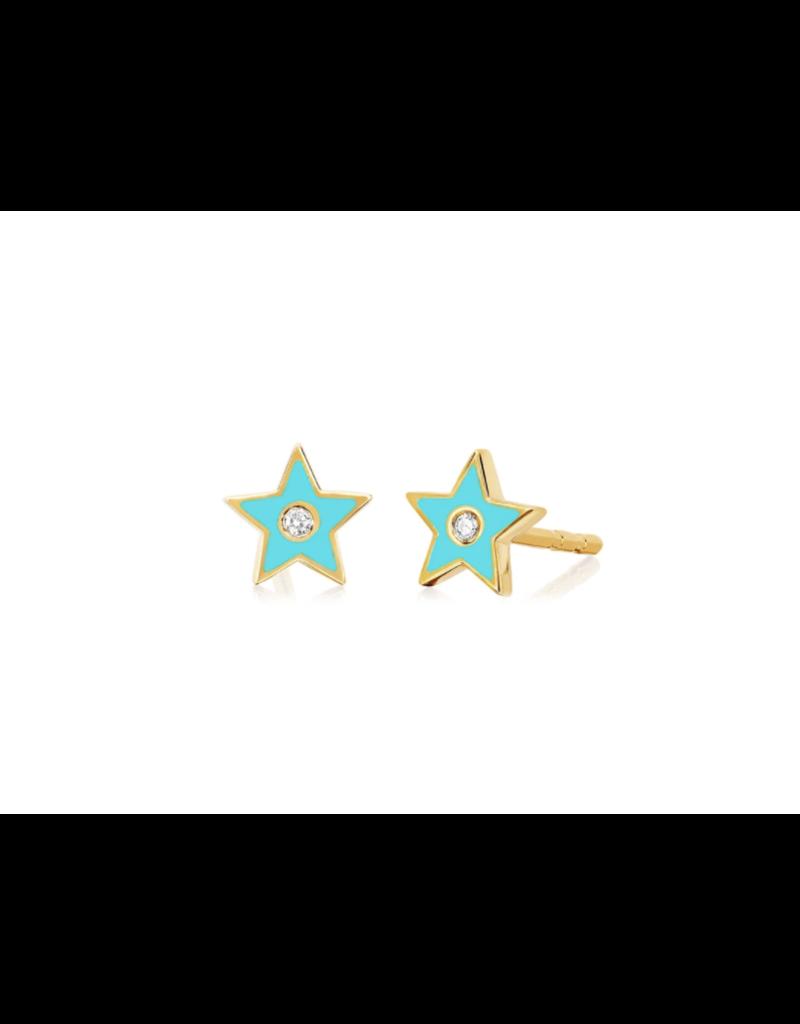 EF Collection 14KY DIAMOND & TURQUOISE ENAMEL STAR STUD EARRING